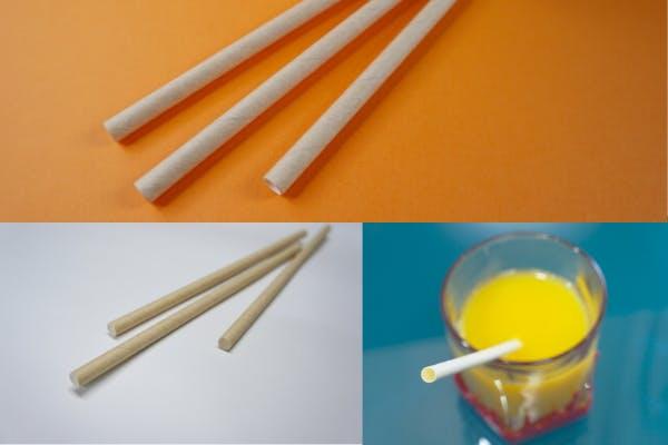 紙製ストローを使用し、プラスチックストロー利用によるプラスチックゴミの排出を抑えます
